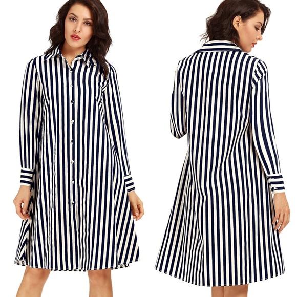 b3f6876e7c Navy Blue and White Striped Shirt Dress